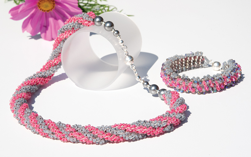 Beaded Rope Necklace & Beaded bracelet