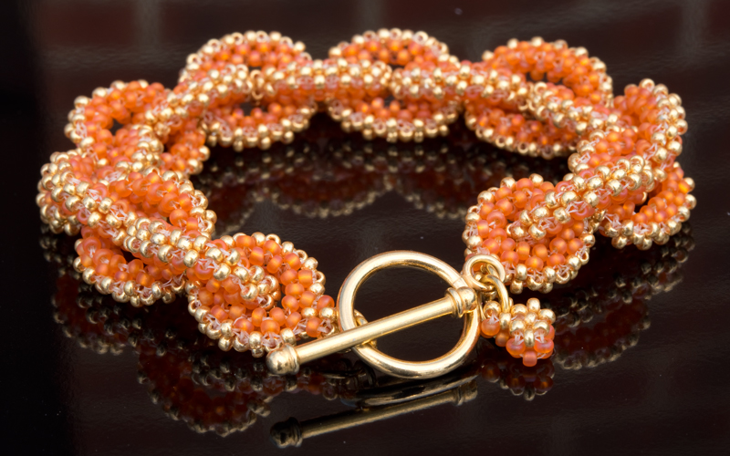Golden Orange Bracelet Chain Bead Kit