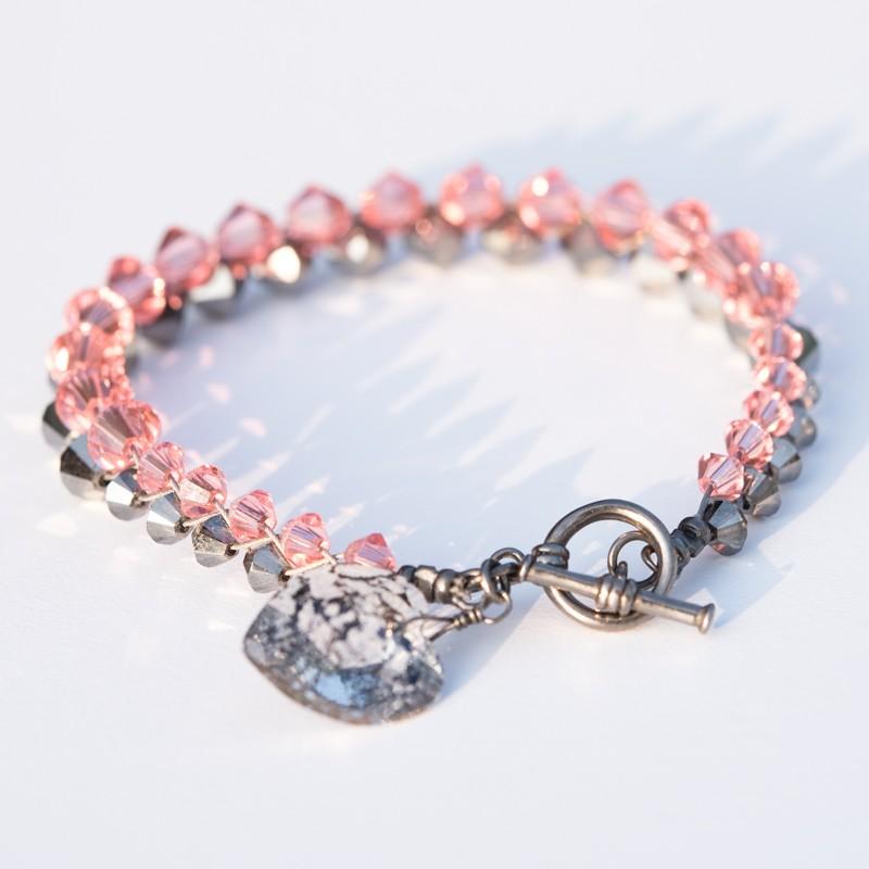 Black Heart Patina Charm Bracelet Crystallized With Swarovski