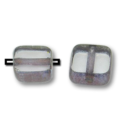Czech, Clear 6x6mm table cut with rich burgundy gold edge, makes a nice filler bead
