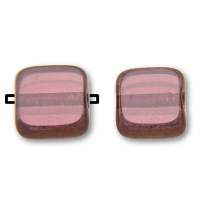 Czech, Amethyst 6x6mm table cut with rich burgundy gold edge, makes a nice filler bead