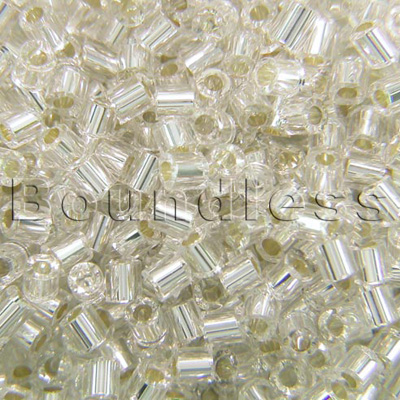 Preciosa Czech glass unica bead/seed bead 1.6mm Clear silver lined precision cut tubes