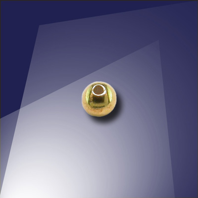 .925 Gold Finish Sterling Silver 3mm Bead with a 0.9mm Hole - Retail system