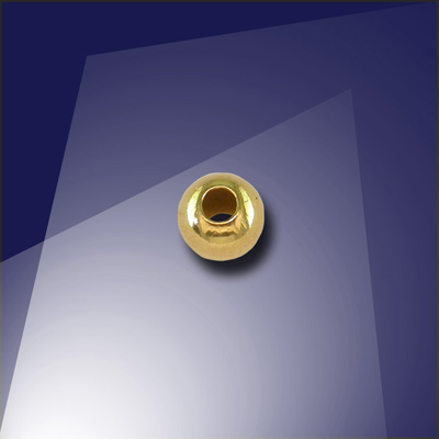 .925 Gold Finish Sterling Silver 4mm Round Spacer Bead with a 1.5mm Hole -Retail system
