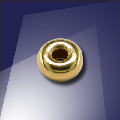 .925 Gold Finish Sterling Silver 6mm Roundel with a 2.4mm hole - Retail System