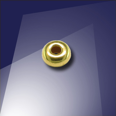 .925 Gold Finish Sterling Silver 4mm Roundel with a 1.8mm Hole - Retail system