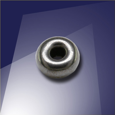 .925 Black Finish Sterling Silver 6mm Roundel with a 2.4mm hole