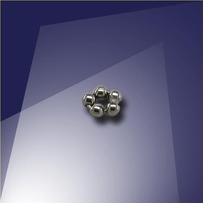 .925 Black Finish Sterling Silver 1.2mm Penta Bead