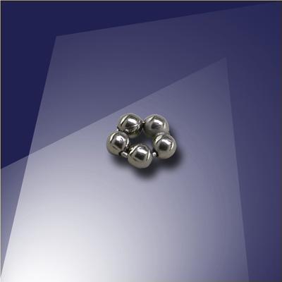 .925 Black Finish Sterling Silver 1.5mm Penta Bead