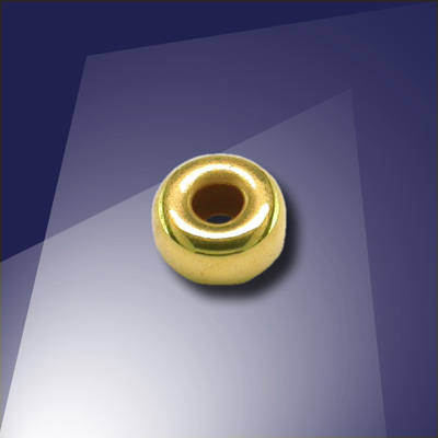 .925 Gold Finish 5mm Roundel with a 2.2mm Hole
