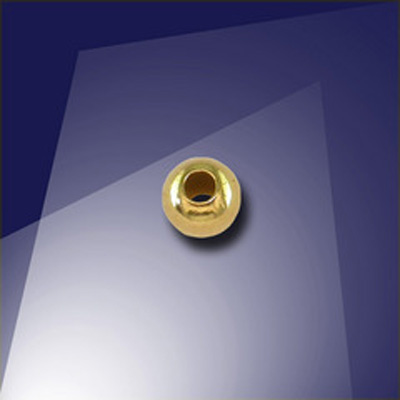 .925 Gold Finish Sterling Silver 4mm Round Spacer Bead with a 1.5mm Hole
