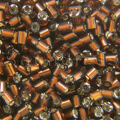 Preciosa Czech glass unica bead/seed bead 1.6mm Smoked Topaz silver lined precision cut tubes