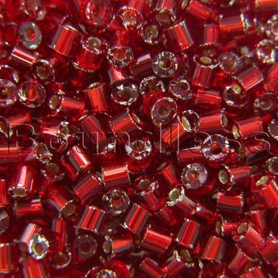 Preciosa Czech glass unica bead/seed bead 1.6mm Medium Red silver lined precision cut tubes