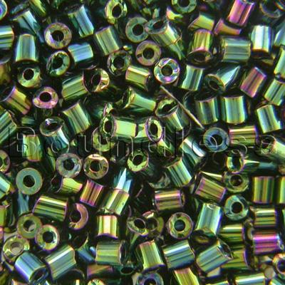Preciosa Czech glass unica bead/seed bead 1.6mm Green Iris coated precision cut tubes