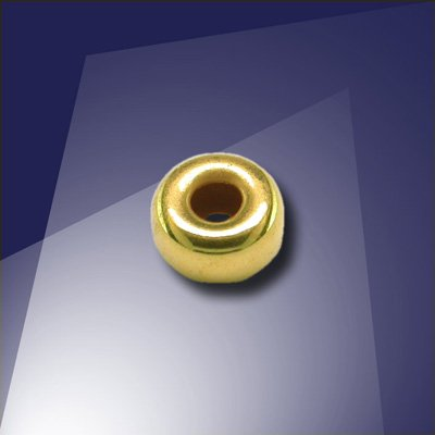 .925 Gold Finish Sterling Silver 5mm Roundel with a 2.2mm Hole - Retail system