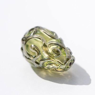 15x10mm Green/Yellow Czech Glass Lampwork Bead Drop