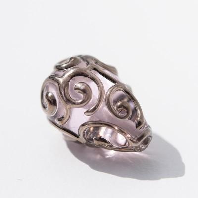 15x10mm Pale Pink Czech Glass Lampwork Bead Drop