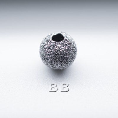 .925 Black Finish Sterling Silver 6mm Stardust Beads with 1.5mm Hole