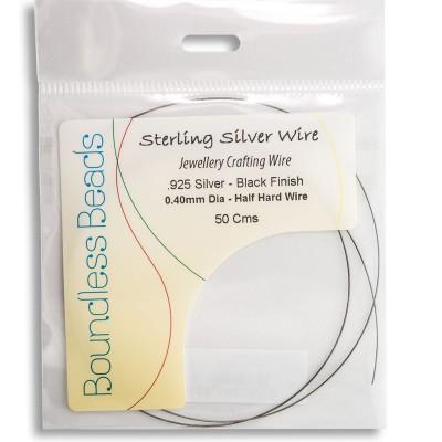 .925 Black Finish Half Hard Wire 0.4mm Dia - Retail system