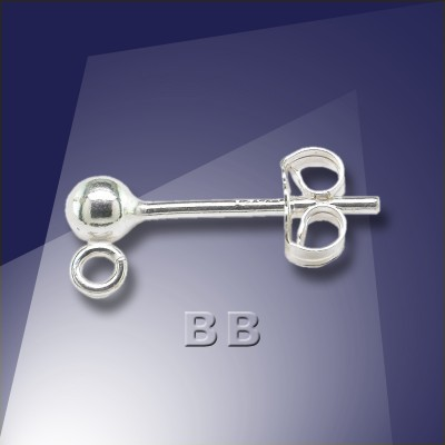 .925 Silver 3mm Ball with Loop Stud Earring- Retail system