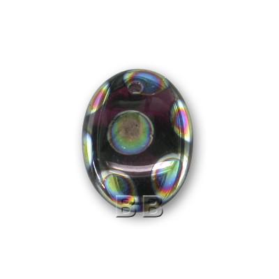 Amethyst Peacock 12x9mm Beetle pressed glass bead