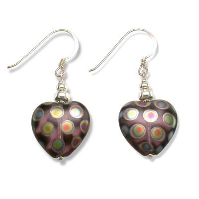 Amethyst Peacock Heart Bead Earrings