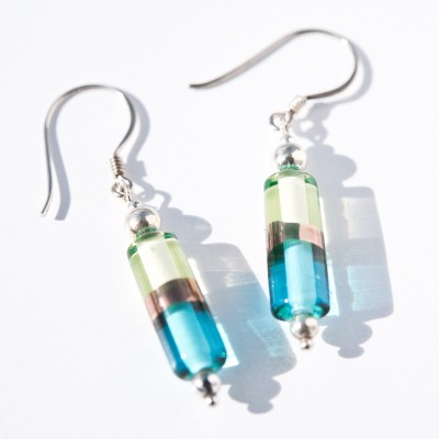 Aqua and Jonquil Glass Bead Harmony Earrings