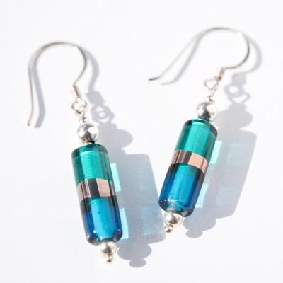 Aqua and Teal Glass Bead Harmony Earrings