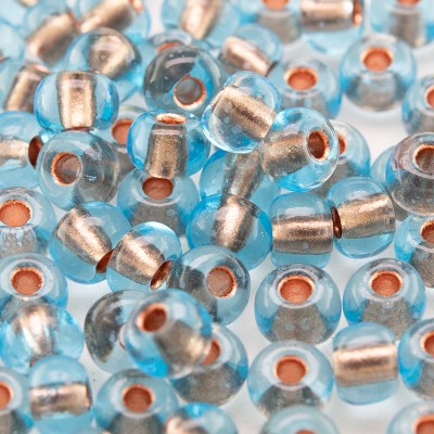 Aquamarine Copper Lined size 5/0 seed beads- Retail system