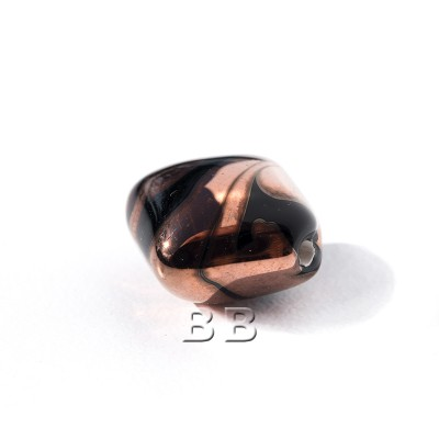 Black 12x12mm Diamond Cushion with Copper effect Czech glass Lampwork Bead - Retail system