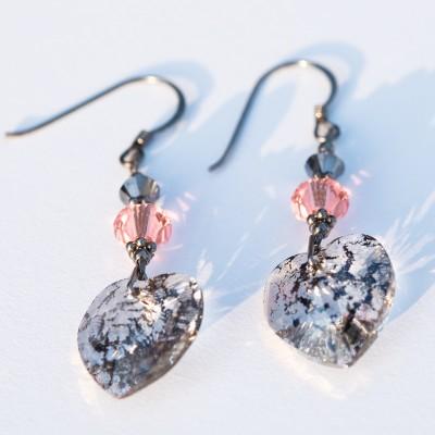 Black Heart Patina Earrings Crystallized with Swarovski®