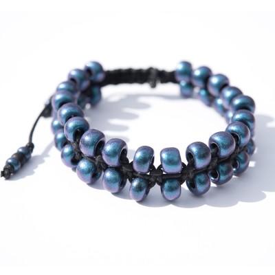 Blu-Berry Macramé Bead Bracelet