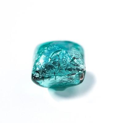 Blue Zircon 12x12mm Diamond Cushion Silver Foil Czech glass Lampwork Bead