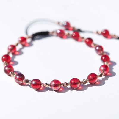 Cherry Red Macramé  Symmetry Bead Bracelet
