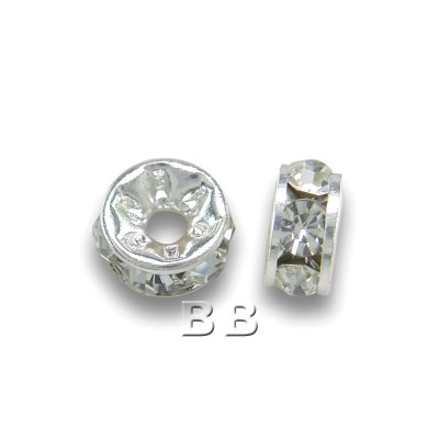 Clear Crystal 4-5mm silver plated Czech Crystal Rhinestone rondelles