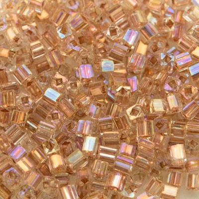 Clear glass, Copper Lined and Rainbow Cube, size 2x2mm