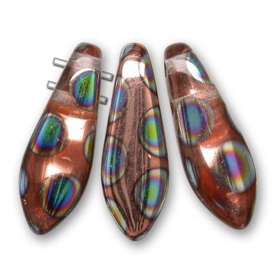 Clear Half Coated Copper 2-Hole 5x16mm dagger bead, glass shaped drops. Fierce fun!