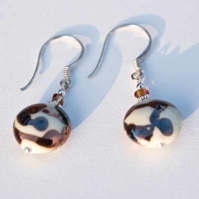 Cream Disc Bead Earrings