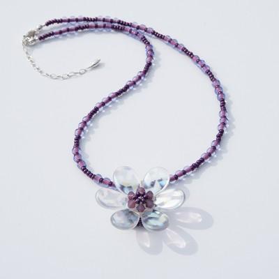 Cyclamen Daisy  Glass Bead Necklace