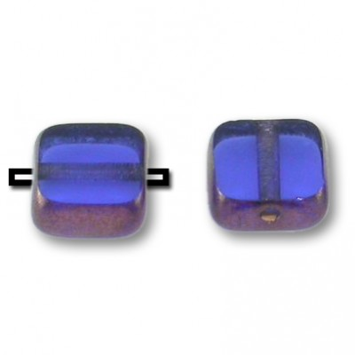 Czech, Sapphire 6x6mm table cut with rich burgundy gold edge, makes a nice filler bead