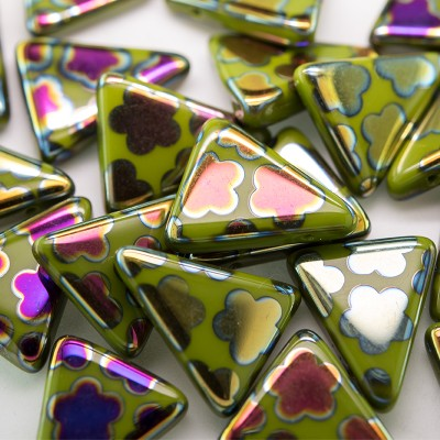 Dark Citron Peacock Triangle 15x19mm  Pressed Glass Bead - Retail system
