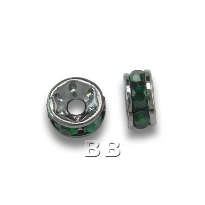 Emerald 4.5mm Black Plate Czech Crystal Rhinestone Rondelles