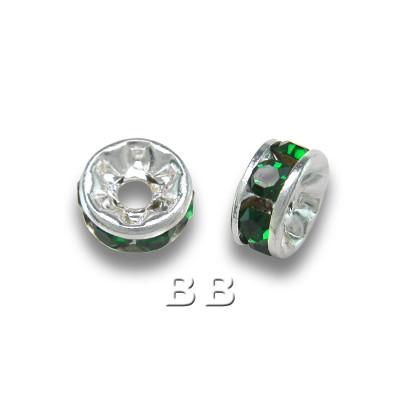 Emerald 4.5mm Silver Plate Czech Crystal Rhinestone Rondelle