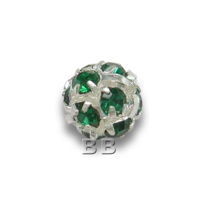 Emerald 6.0mm Silver Plated Czech Crystal Rhinestone Ball