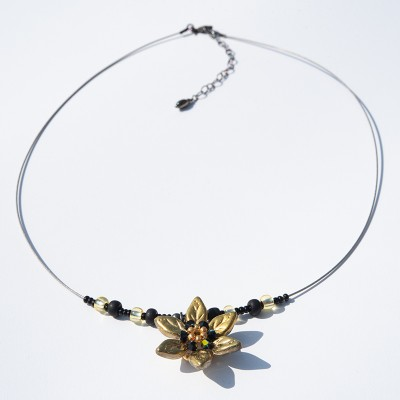 Gold Flower Glass Bead Necklace