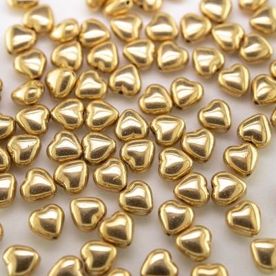Gold Metallic Heart 6mm Pressed Czech Glass Bead - Retail system