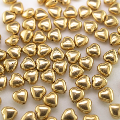 Gold Metallic Heart 6mm Pressed Czech Glass Bead