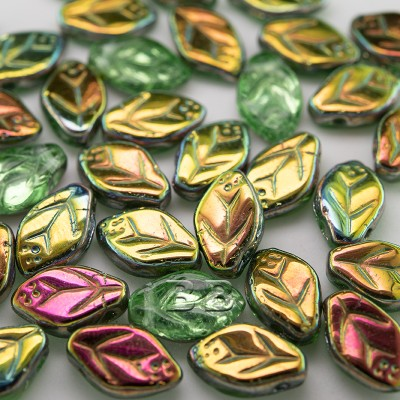 Green & Clear, lustered metallic wavy leaf 12x7mm glass drop bead