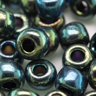 Green Iris Metallic size 32/0 seed beads - Retail system