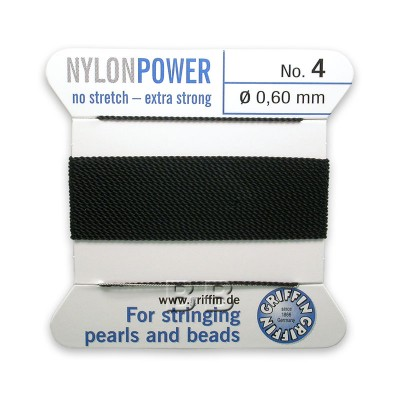 Griffin Nylon Power Bead Cord Black with integral needle 0.60mm Diameter